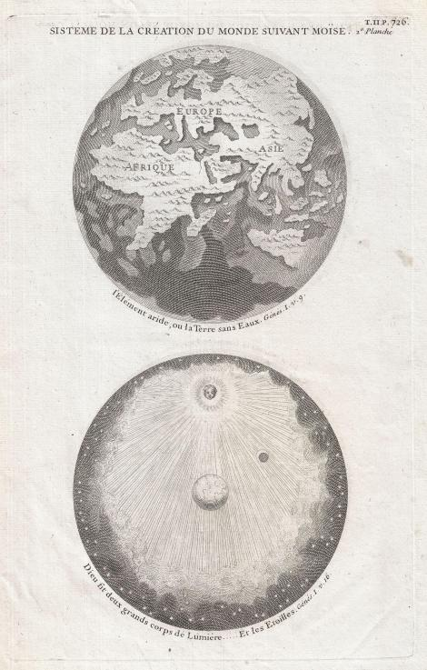 1728 Calmet Map of the Ancient World Showing the Creation of the Universe. Wikimedia Commons